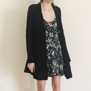 Free People Cable Knit Cardigan Sweater Black